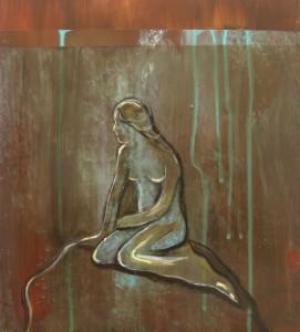 Den lille havfrue malet på bronze