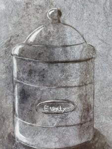 Eventyrkrukke i zink malet på folie med akryl