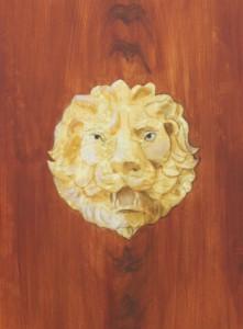 Løvehoved malet i flammebirk på palisandertræ, ibenholt,