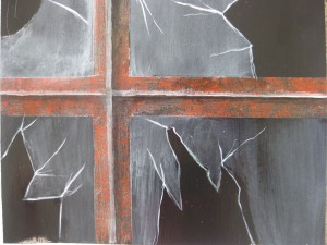 Smadret glas i jernvindue